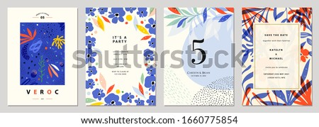 Set of abstract creative universal artistic templates. Good for poster, card, invitation, flyer, cover, banner, placard, brochure and other graphic design. Vector illustration. #1660775854