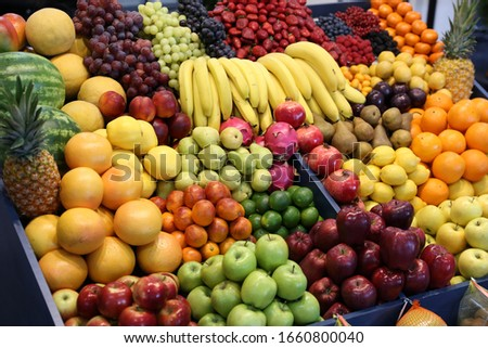 Top view of fruits texture close up as a background #1660800040