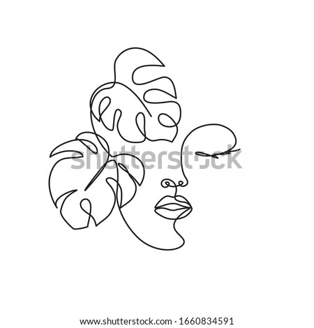 Beauty woman face with monstera leaves One Line drawing art. Continuous line icon for spa salon or organic cosmetics Royalty-Free Stock Photo #1660834591
