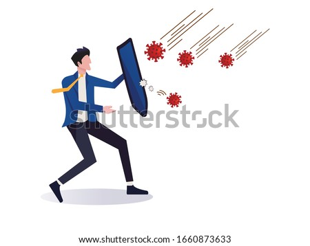 COVID-19 Coronavirus protection and quarantine or business risk prevention from novel virus outbreak concept, businessman holding knight shield to protect from COVID-19 Virus pathogens #1660873633