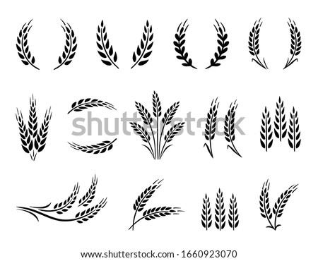 Wheat wreaths and grain spikes set icons #1660923070