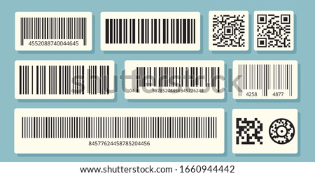 Barcode labels. QR identification, sale information. Barcodes stickers vector set