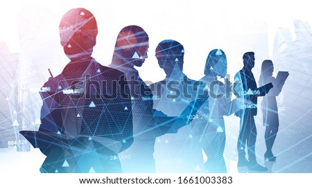 Network and internet communication concept. Silhouettes of business people in abstract city with double exposure of blurry network interface. Toned image #1661003383