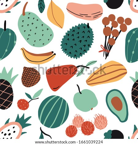 Hand drawn colorful doodle exotic tropic fruits seamless pattern. Vector texture. Flat watermelon, mango, papaya, banana, dragon fruit, pineapple. Asia, Bali, Thailand vegetarian healthy food #1661039224