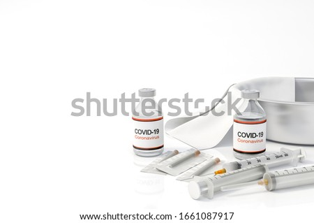 Vaccine and syringe injection for prevention,immunization from corona virus infection (novel coronavirus disease 2019,COVID-19,nCoV 2019 from Wuhan). Health care and Medicine infectious. 3d rendering. #1661087917