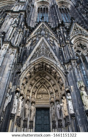 The stunning sculptured exterior of Cologne Cathedral, or also known as Kolner Dom, in the historic city of Cologne, Germany. #1661151322