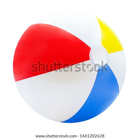 Beach ball isolated on white background with red, yellow, blue and white.with clipping path #1661202628