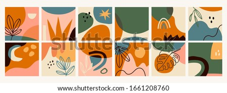 Big Set of Twelve abstract backgrounds. Hand drawn various shapes and doodle objects. Contemporary modern trendy Vector illustrations. Every background is isolated. Pastel colors #1661208760