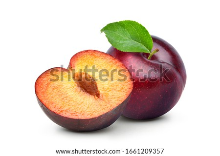 Juicy red Plum fruits with cut in half and green leaf isolated on white background. #1661209357
