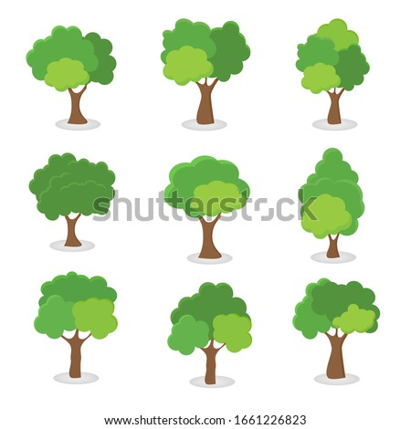Green tree, A variety of forms on the White Background,Set of various tree sets,Trees for decorating gardens and home designs.vector illustration and icon #1661226823