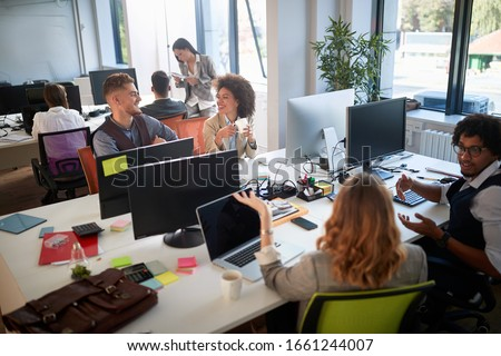 leisurely discussion professional diverse business people on business meeting.  #1661244007
