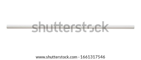 Biodegradable eco friendly white paper drinking straw isolated on white background Royalty-Free Stock Photo #1661317546