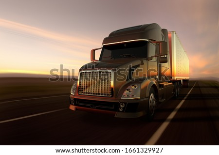 3D rendering of a cargo truck on the road at sunset #1661329927