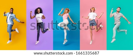 Collage of emotional people of different races jumping on color background, panorama #1661335687