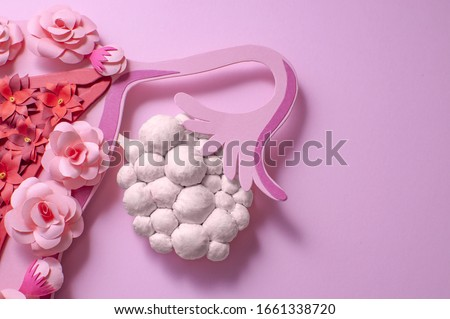Concept polycystic ovary syndrome, PCOS. Paper art, awareness of PCOS, image of the female reproductive system #1661338720