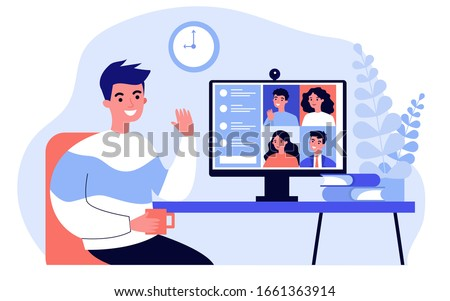 Worker using computer for collective virtual meeting and group video conference. Man at desktop chatting with friends online. Vector illustration for videoconference, remote work, technology concept #1661363914