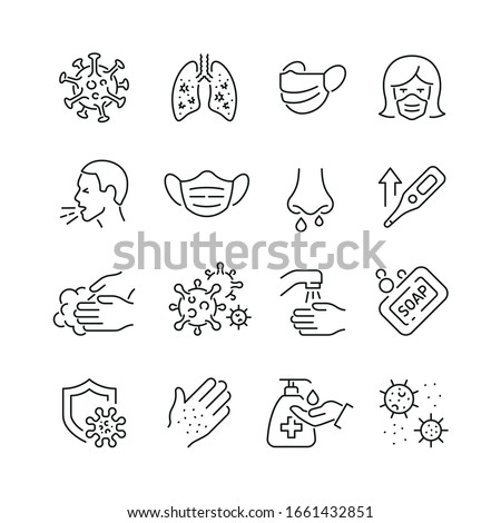 Virus related icons: thin vector icon set, black and white kit #1661432851