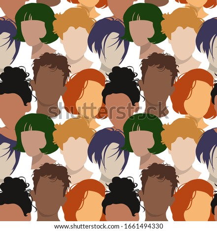 Seamless wallpaper pattern. Colored abstract faces and hairstyle of people. Different Characters. Textile composition, hand drawn style print. Vector illustration. #1661494330