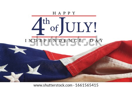 American flag with Independence Day greeting