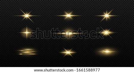 Shining golden stars isolated on black background. Effects, lens flare, shine, explosion, golden light, set. Shining stars, beautiful golden rays. Vector illustration.  #1661588977