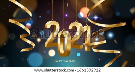 Happy New Year 2021. Hanging golden 3D numbers with ribbons and confetti on a defocused colorful, bokeh background. Royalty-Free Stock Photo #1661592922
