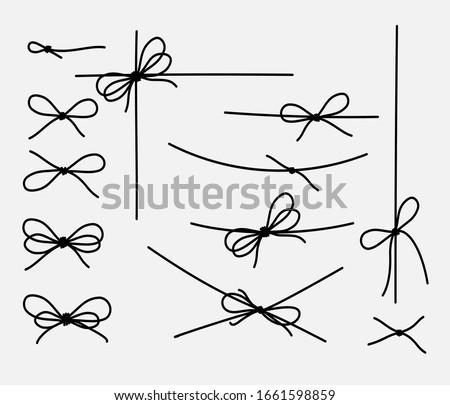 Set of rope knots, marine knots, bows, vector illustration.