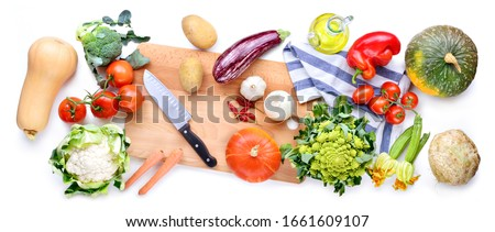 Vegetarian and vegan food. Ingredients. Top view, white background. #1661609107