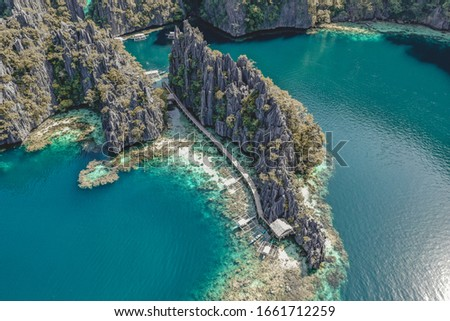 Aerial view of the Twin Lagoon in coron island, Palawan, Philippines #1661712259