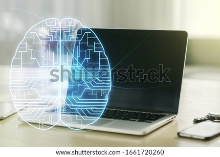 Creative artificial Intelligence concept with human brain sketch on modern computer background. Double exposure #1661720260