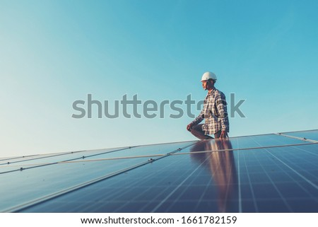 labor working on solar rooftop, Engineering of solar industry #1661782159