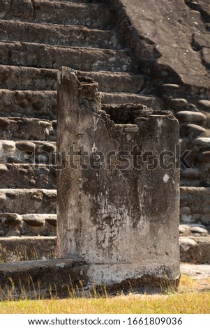 Architectural detail view of the Templo de las Chimeneas, a pyramid at the archaeology site of Cempoala. #1661809036