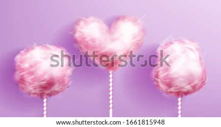 Candy cotton on striped stick pink realistic vector isolated on background, heart shaped sweet sugar dessert, yummy food for children on fair, carnival recreation, romantic design element illustration #1661815948