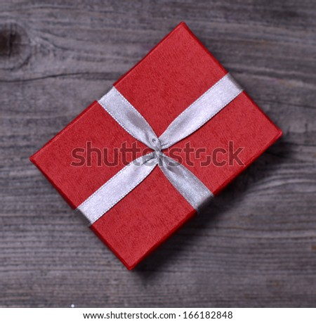 Vintage gift box on wooden background  #166182848