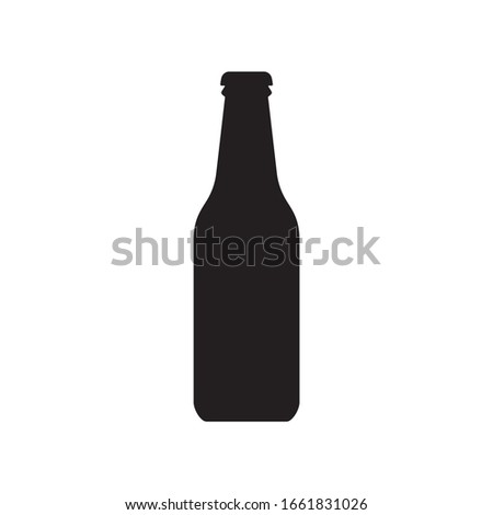 Beer bottle icon. Alcohol drink silhouette.