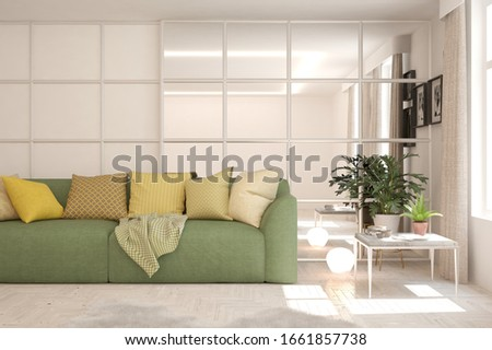 Modern living room in white color with sofa. Scandinavian interior design. 3D illustration #1661857738