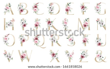Gold letters set, alphabet with watercolor flowers pink roses and leaf. Floral monogram initial clip art perfectly for wedding invitation, greeting card and other. Holiday design hand painting.