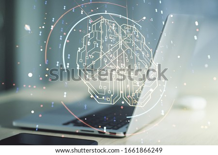 Double exposure of creative artificial Intelligence symbol with modern laptop on background. Neural networks and machine learning concept #1661866249