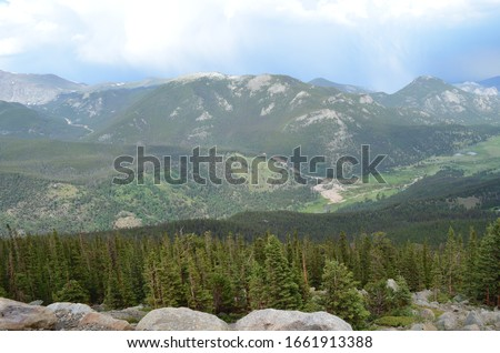 Summer in Rocky Mountain National Park: Roaring River, Mt Tileston, Bighorn Mtn, Alluvial Fan, Horseshoe Park, Sheep Lakes, McGregor Mtn & The Needles Seen From Rainbow Curve on Trail Ridge Road #1661913388