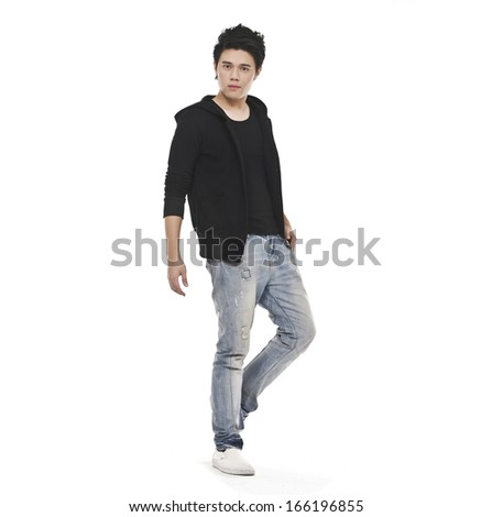 Full length casual young man in jeans standing on white #166196855