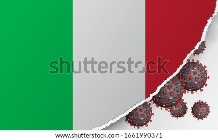 Flag of Italy with outbreak deadly coronavirus covid-19. A large real coronavirus bacteriums against background of the flag of Italy. Concept of coronavirus quarantine. Coronavirus outbreak in Italy. #1661990371