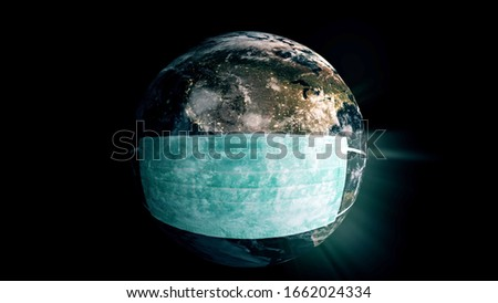 Planet Earth wearing a face mask from a deadly virus pandemic.  #1662024334
