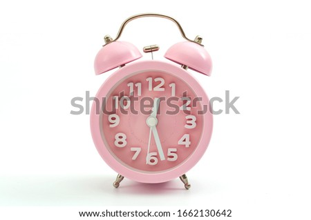 Sleep hygiene, wake up ring and old fashioned clocks concept with pink retro style alarm clock isolated on white background and clipping path cutout #1662130642