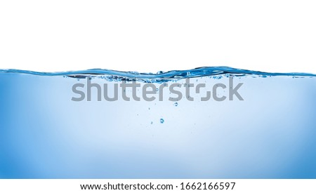 Blue water wave and bubbles isolated on white background. blue water surface with splash, waves and air bubbles to clean drinking water. Can be used for graphic designing, editing, putting on products #1662166597