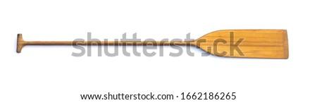 wooden sports kayak paddle isolated on white background Royalty-Free Stock Photo #1662186265