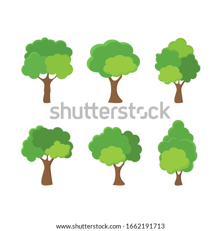 Green tree Fertile A variety of forms on the White Background,Set of various tree sets,Trees for decorating gardens and home designs.vector illustration and icon #1662191713