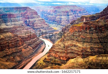 Red rock canyon river top view. Mountain river valley canyon panorama. River canyon in mountains. #1662217171