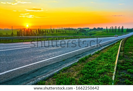 Sunset rural road landscape. Rural road sunset scene #1662250642