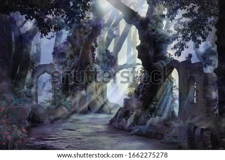 into the deep woods, atmospheric landscape with archway and ancient trees, misty and foggy mood #1662275278