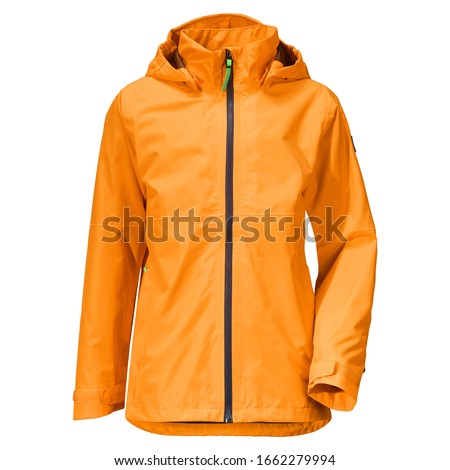 Orange Stylish Rain Jacket Isolated on White Background. Waterproof Coat with Detachable Hood & Adjusted Cuffs Front View. Warm Outwear Cotton Windproof Fabric. Best Outdoor Clothing for Hiking Travel Royalty-Free Stock Photo #1662279994