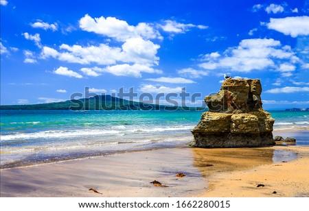 Sea sand beach rock landscape. Sand beach scene. Rock on sea sand beach #1662280015